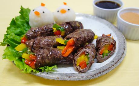 牛肉のカラフル野菜巻き