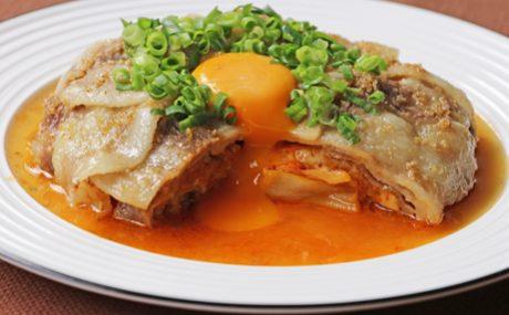 レンジで簡単!スタミナ豚キムチーズ 卵黄ポン酢ソース