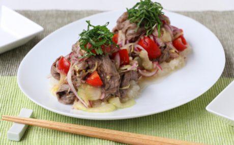 牛肉と香味野菜のさっぱりマリネ 大根おろし添え
