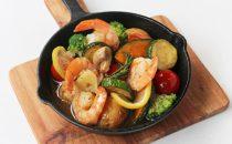 海老と夏野菜のアヒージョ風