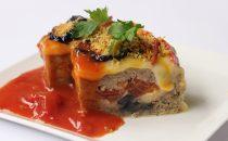 ひき肉とナスとトマトの重ね焼き